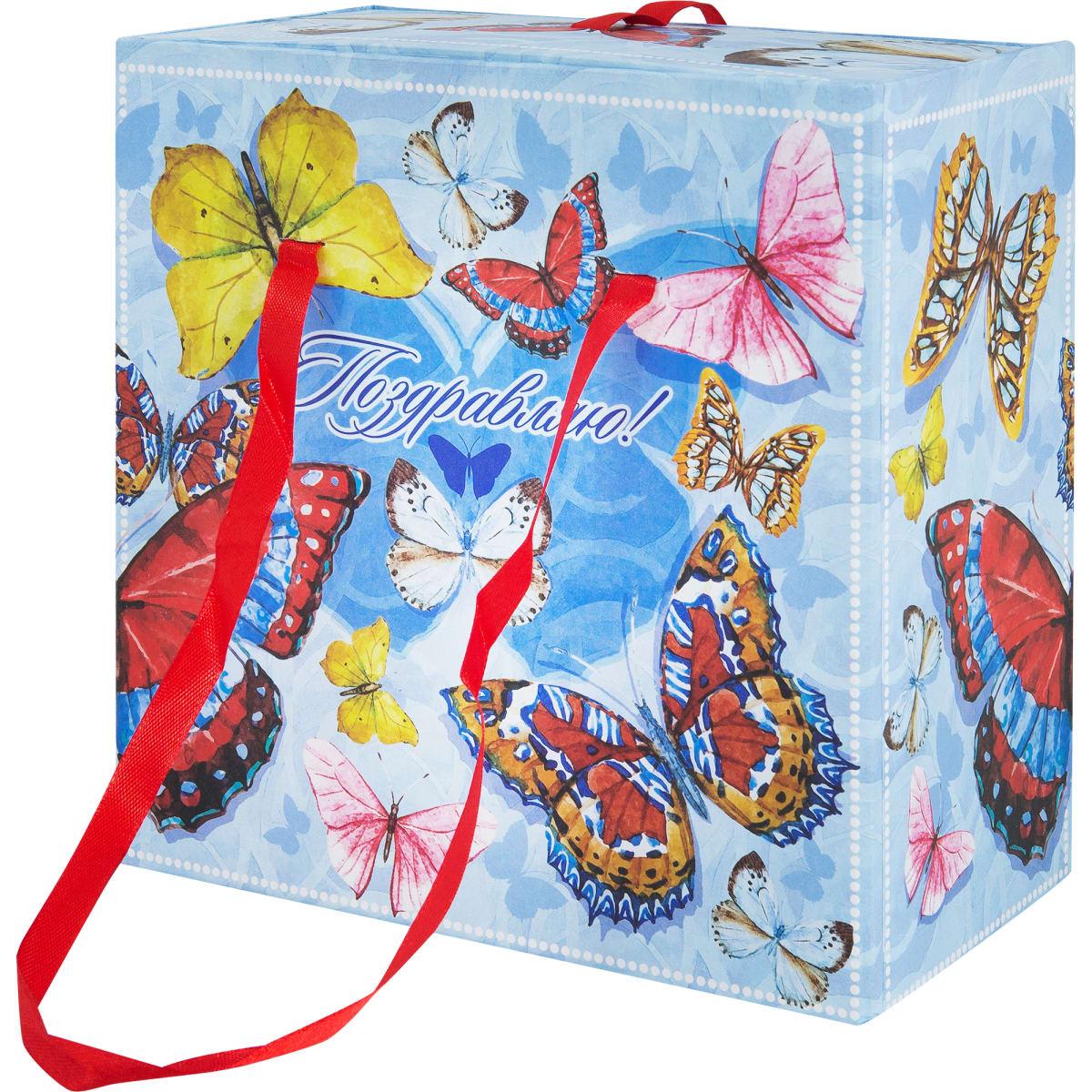 Коробка подарочная 76868, картон, 18х18х9.5 см
