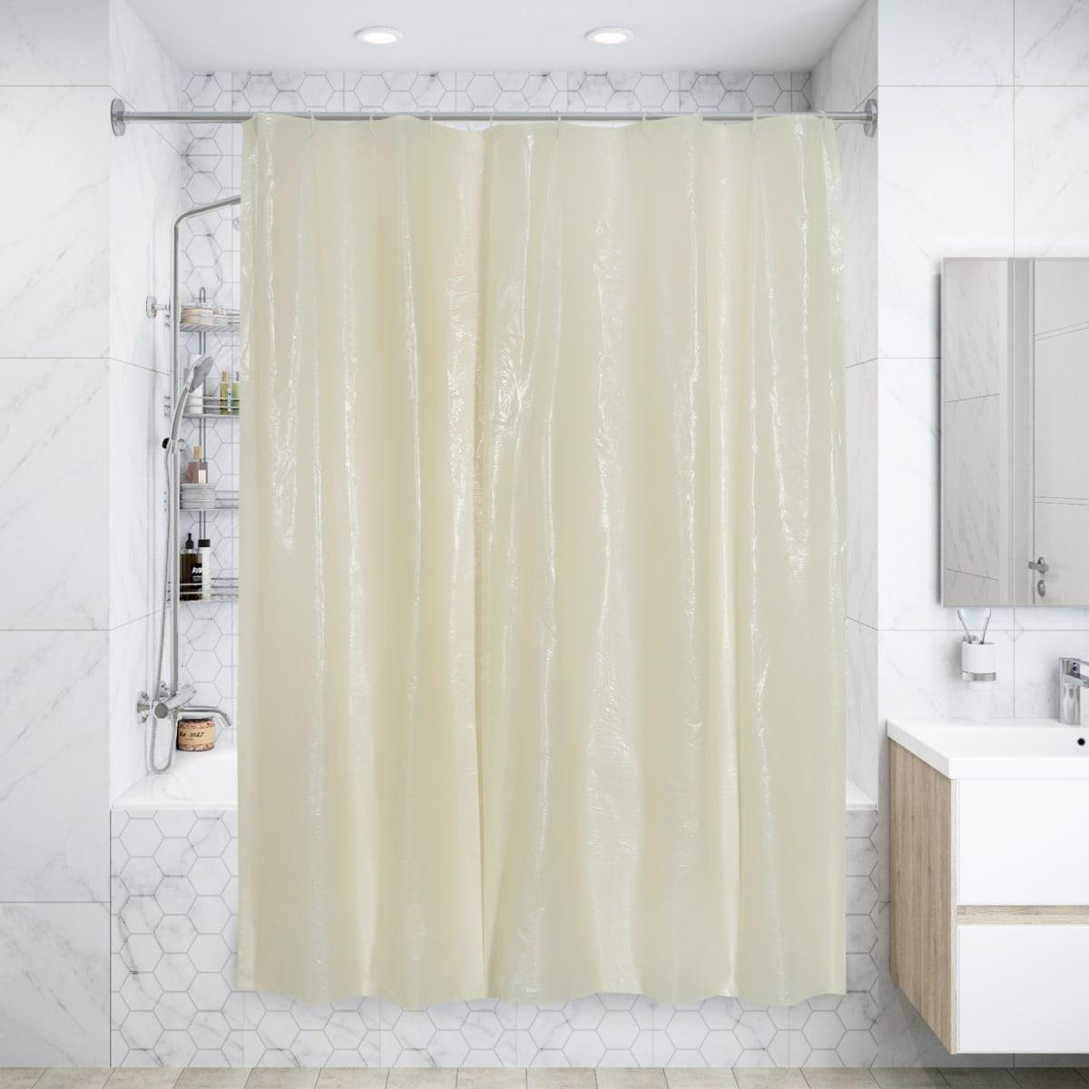 Штора для ванны с кольцами 180х180 см, полиэтилен, цвет бежевый