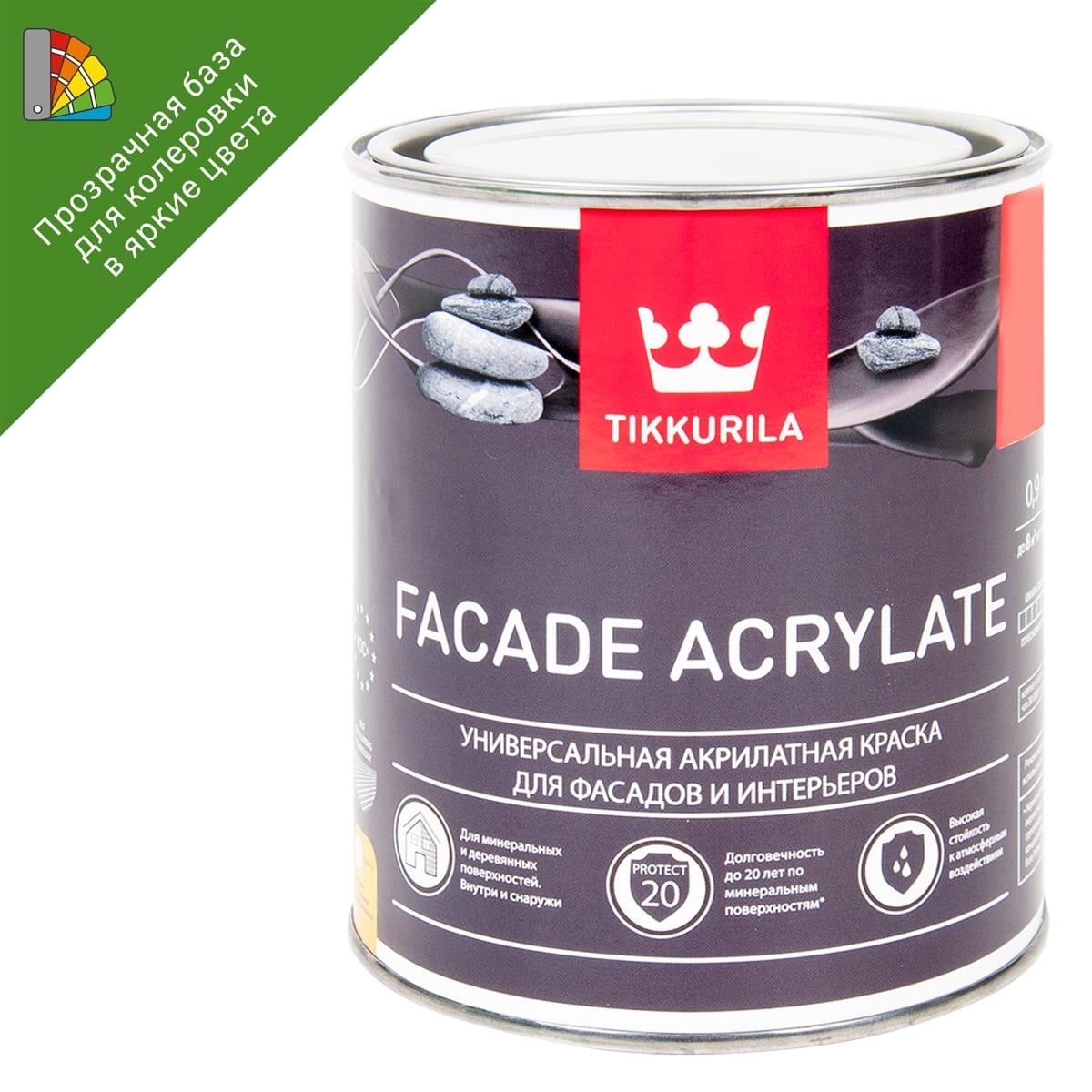 Краска для колеровки фасадная Facade Acrylate 0.9 л цвет прозрачный