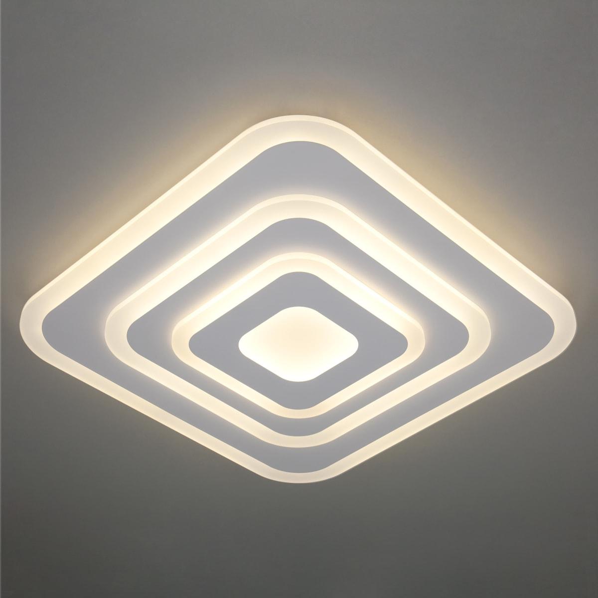 Люстра потолочная светодиодная Eurosvet Siluet 90118/4 с пультом управления, 39 м², регулируемый свет, цвет белый