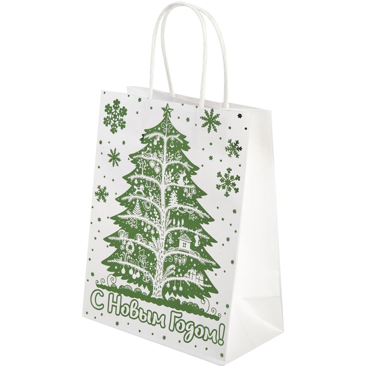 Пакет подарочный крафтовый «Зелёная ёлочка» 18x23 см