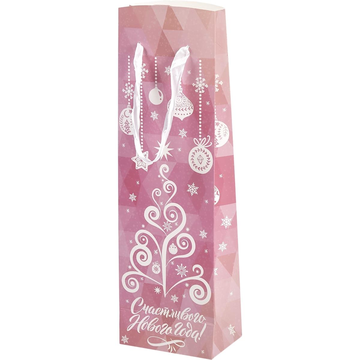 Пакет подарочный «Розовая ёлка» 13x35 см