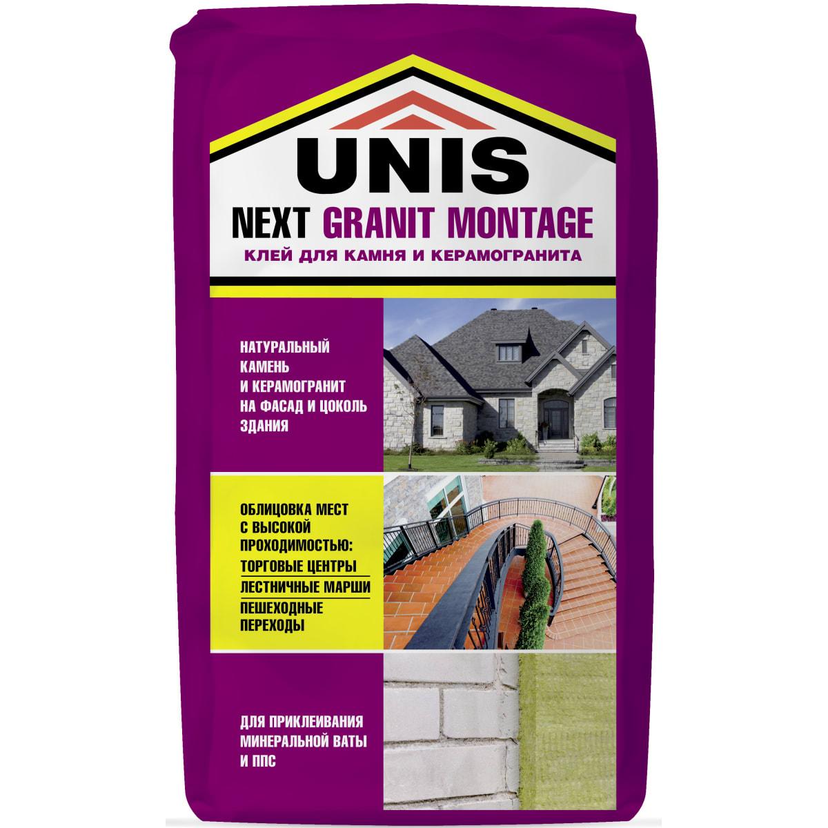 Клей для камня и керамогранита Unis Next Granit Montage, 25 кг