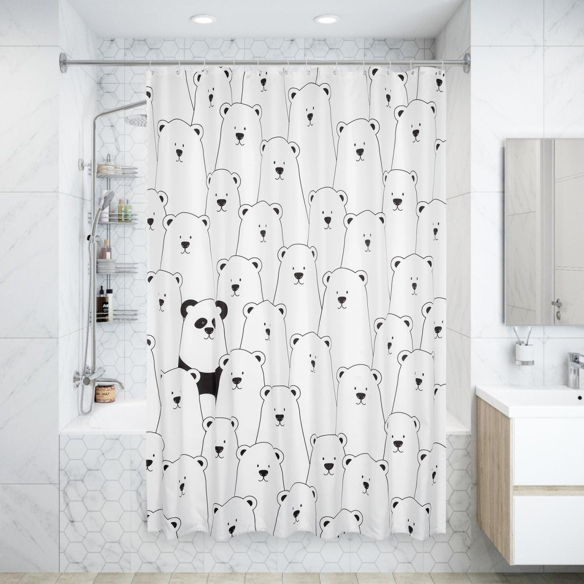 Штора для ванны Panda 180x200 см, полиэстер, цвет белый