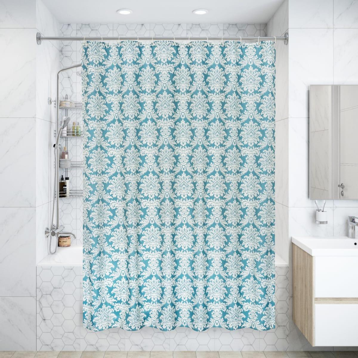 Штора для ванны Ardea SWC-90 с кольцами 180х200 см, полиэстер, цвет белый/серый