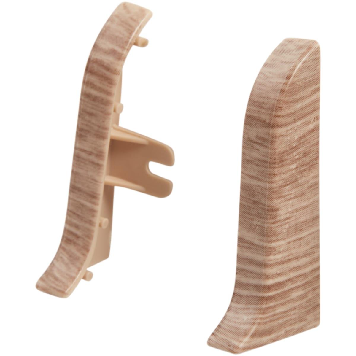 Заглушка для плинтуса левая и правая «Дуб ривьера», высота 55 мм, 2 шт.