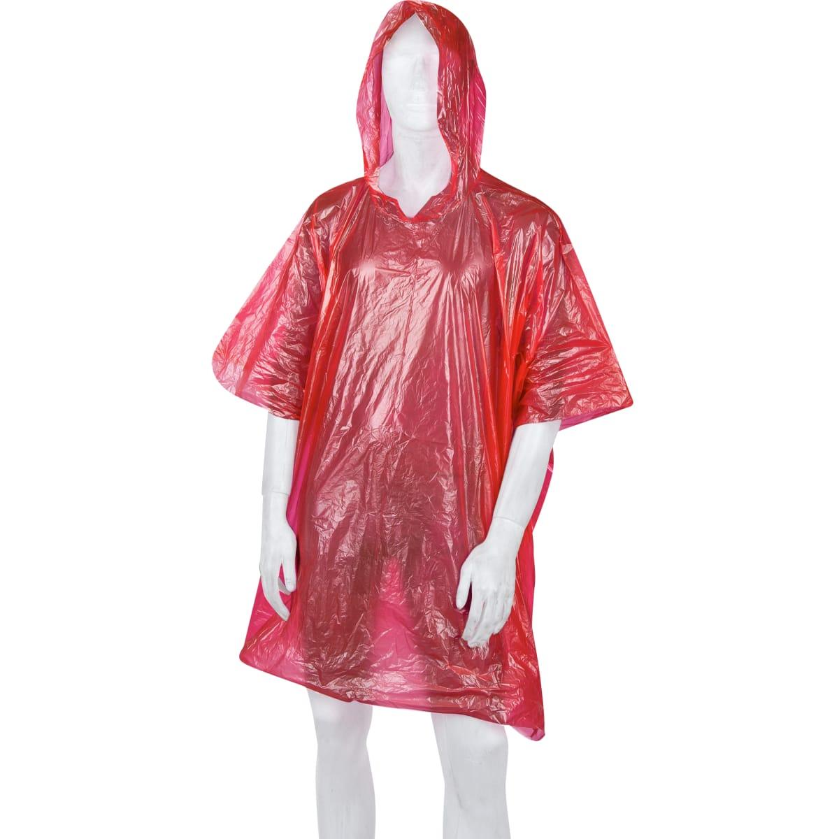 Плащ-дождевик пончо, цвет красный
