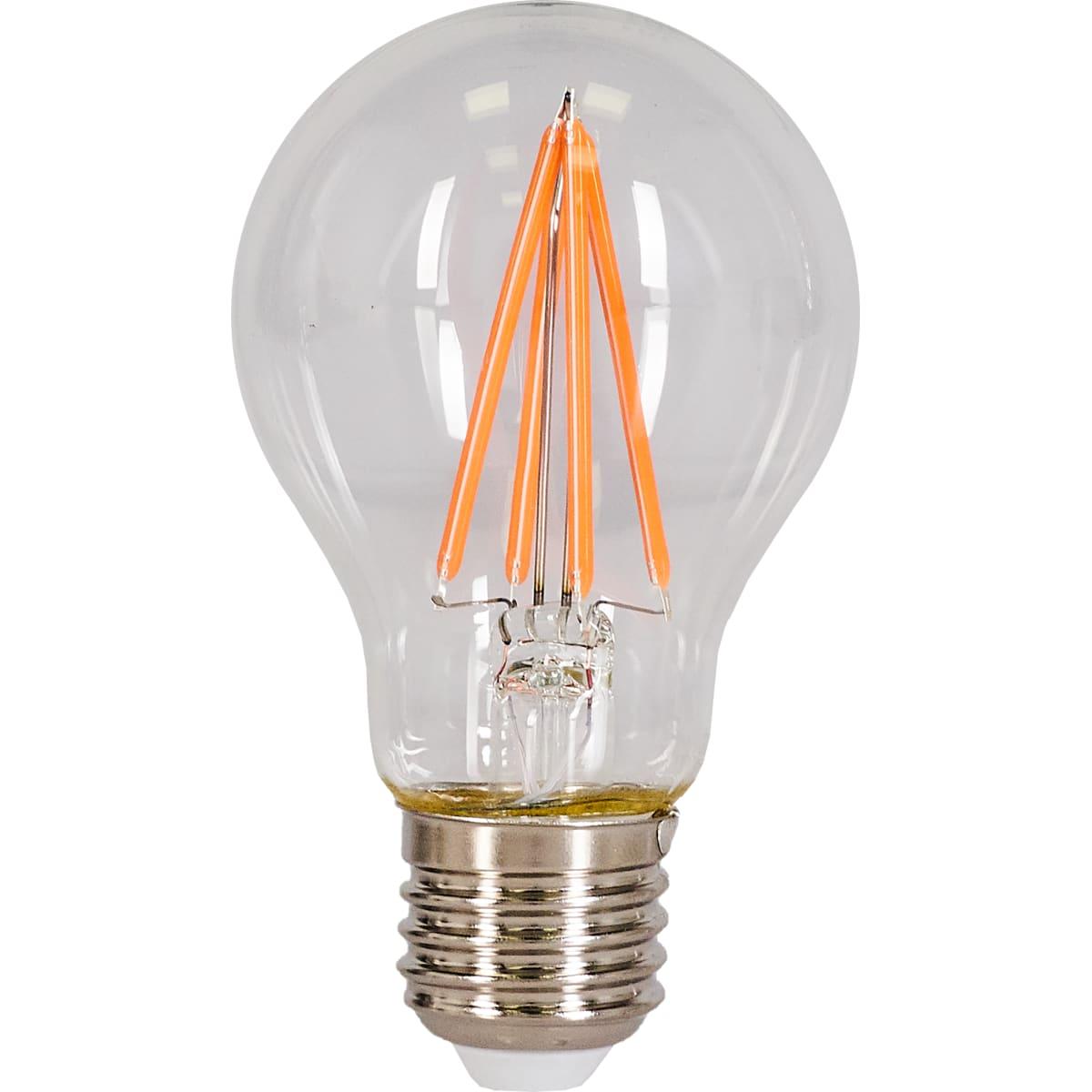Лампа светодиодная филаментная Gauss E27 6 Вт груша прозрачная 290 лм, фиолетовый свет