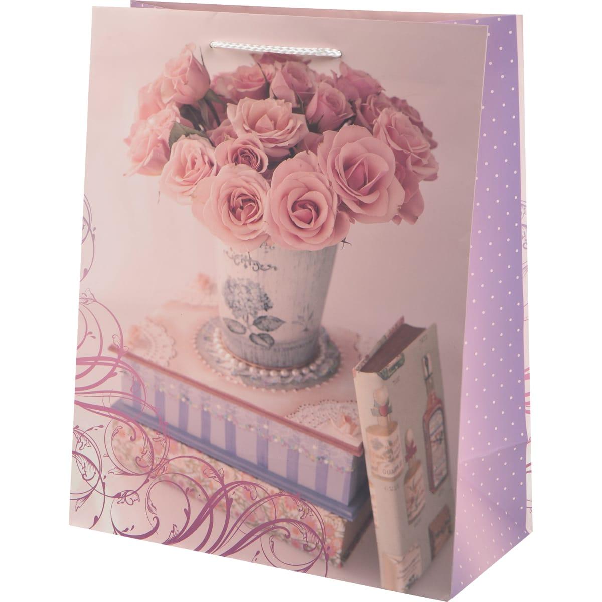 Пакет подарочный «Ваза с розами» 26x32 см