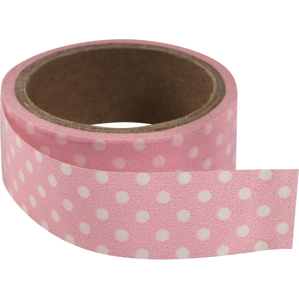 Лента самоклеющаяся «Горошек на розовом» 1.5 см x 4 м