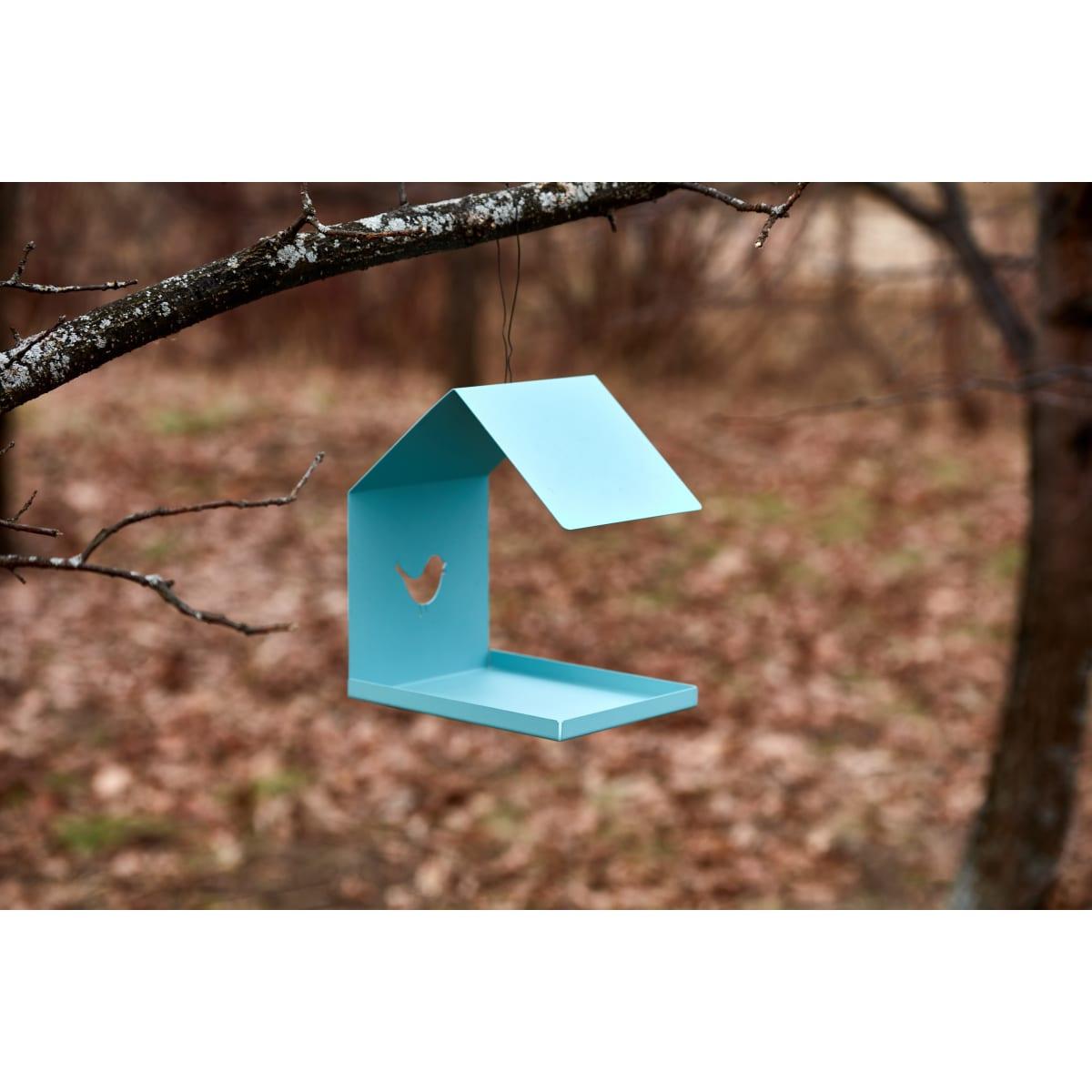 Кормушка для птиц цвет голубой