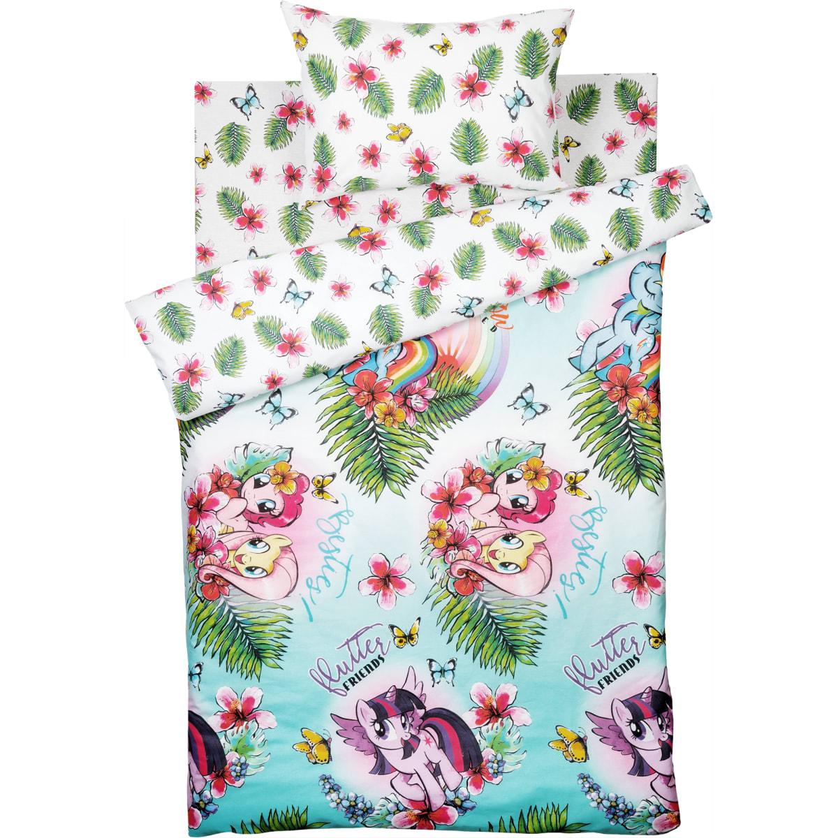 Комплект постельного белья детский My Little Pony «Pony Pink» полутораспальный бязь цвет зелёный/розовый