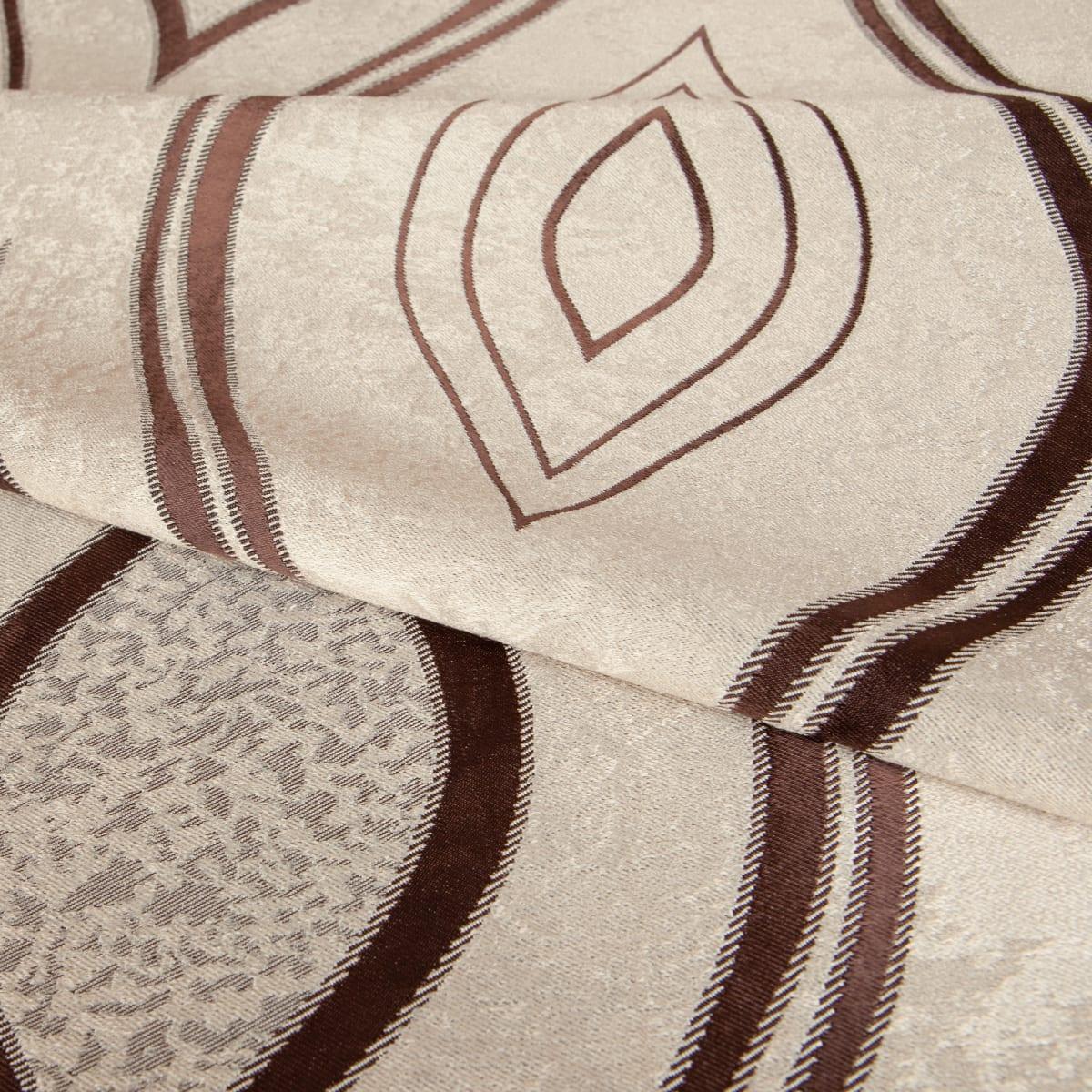 Ткань димаут «Витражный», 280 см, вензель, цвет золото-коричневый