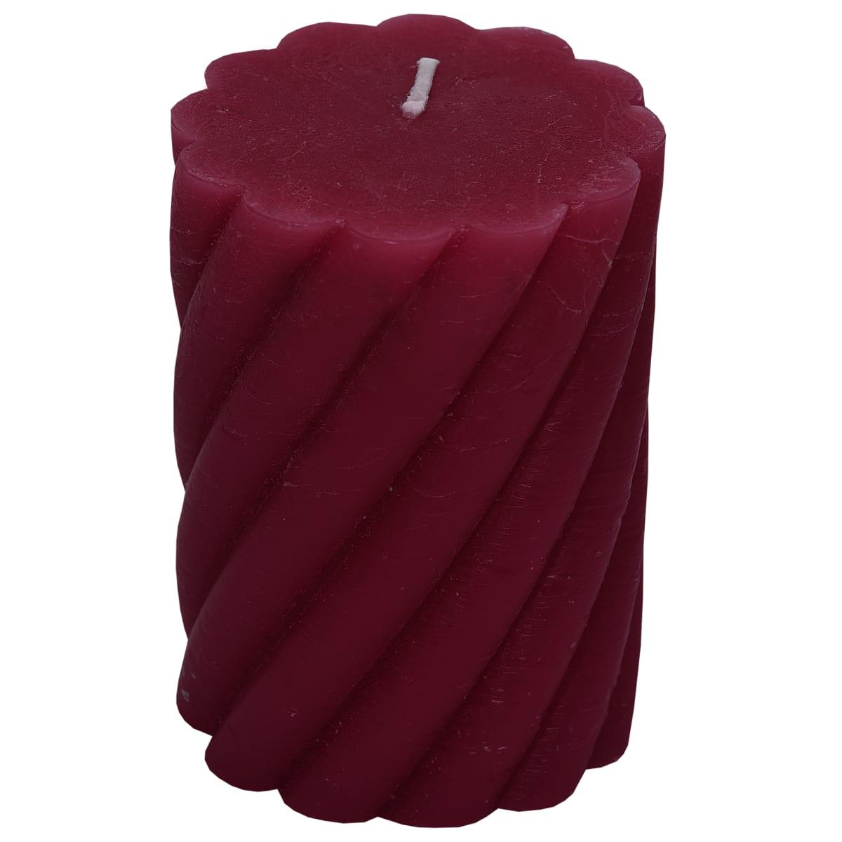 Свеча-столбик витой «Рустик» 7.4х8 см цвет бордо