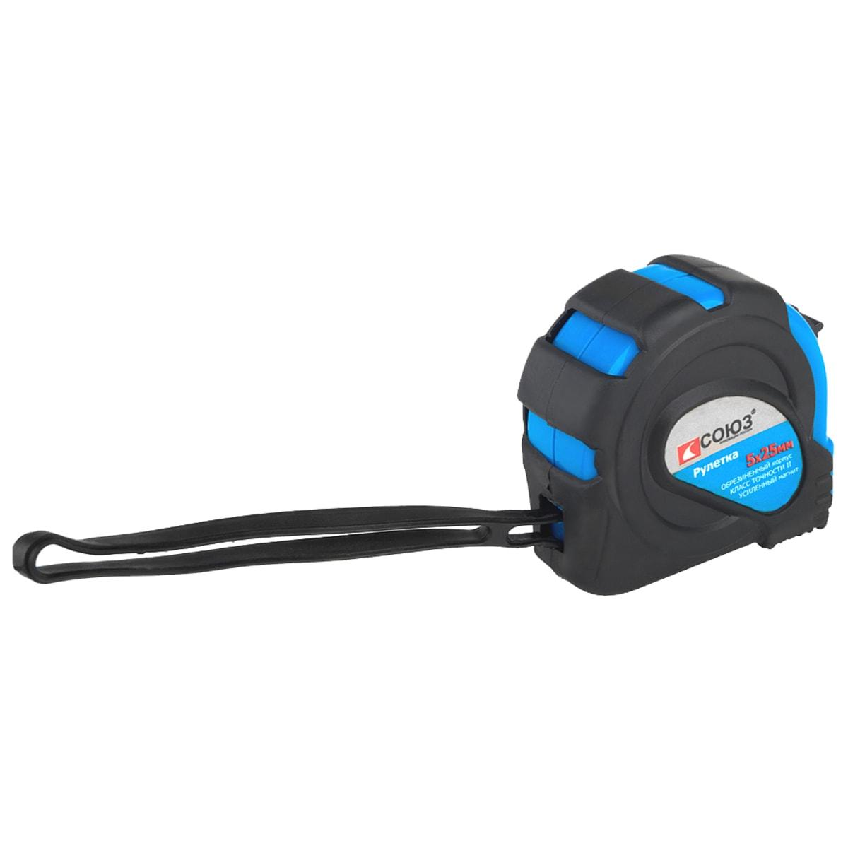 Карманная рулетка СОЮЗ 21525 5х25мм в обрезиненный корпус с усиленным магнитом