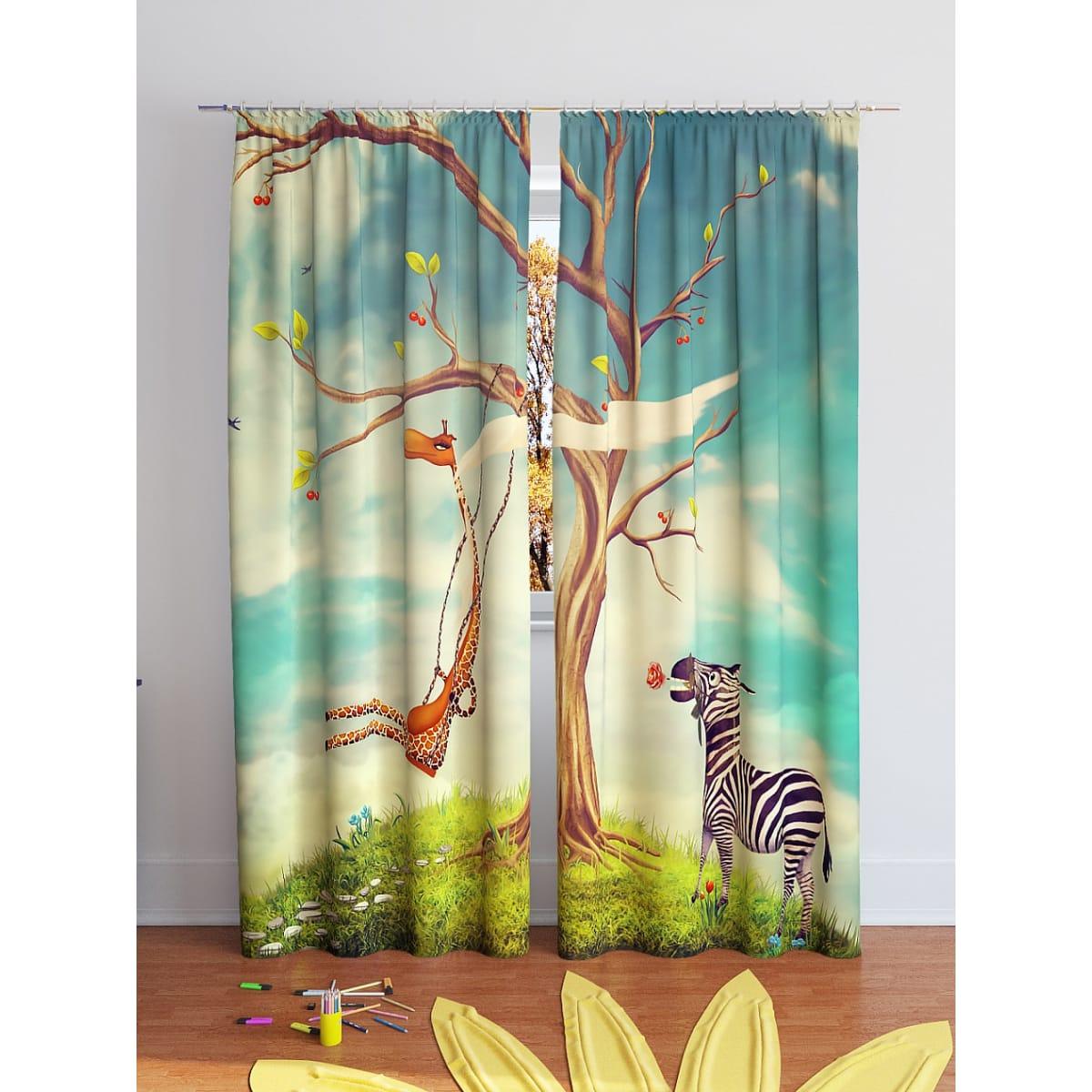 Комплект штор ТОМДОМ Жираф и зебра 900175, 260 см