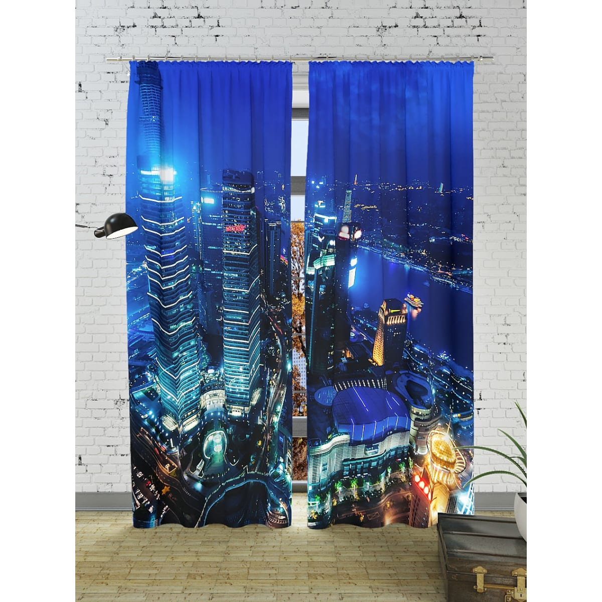 Комплект штор ТОМДОМ Огни ночного мегаполиса 900178, 260 см