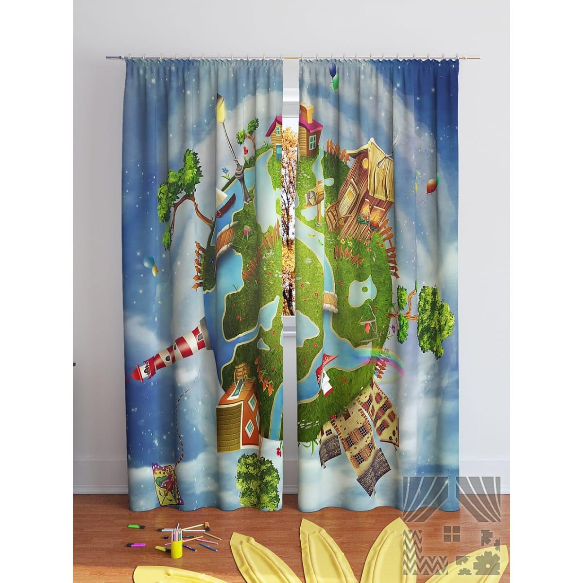 Комплект штор ТОМДОМ Детская планета 900268, 280 см