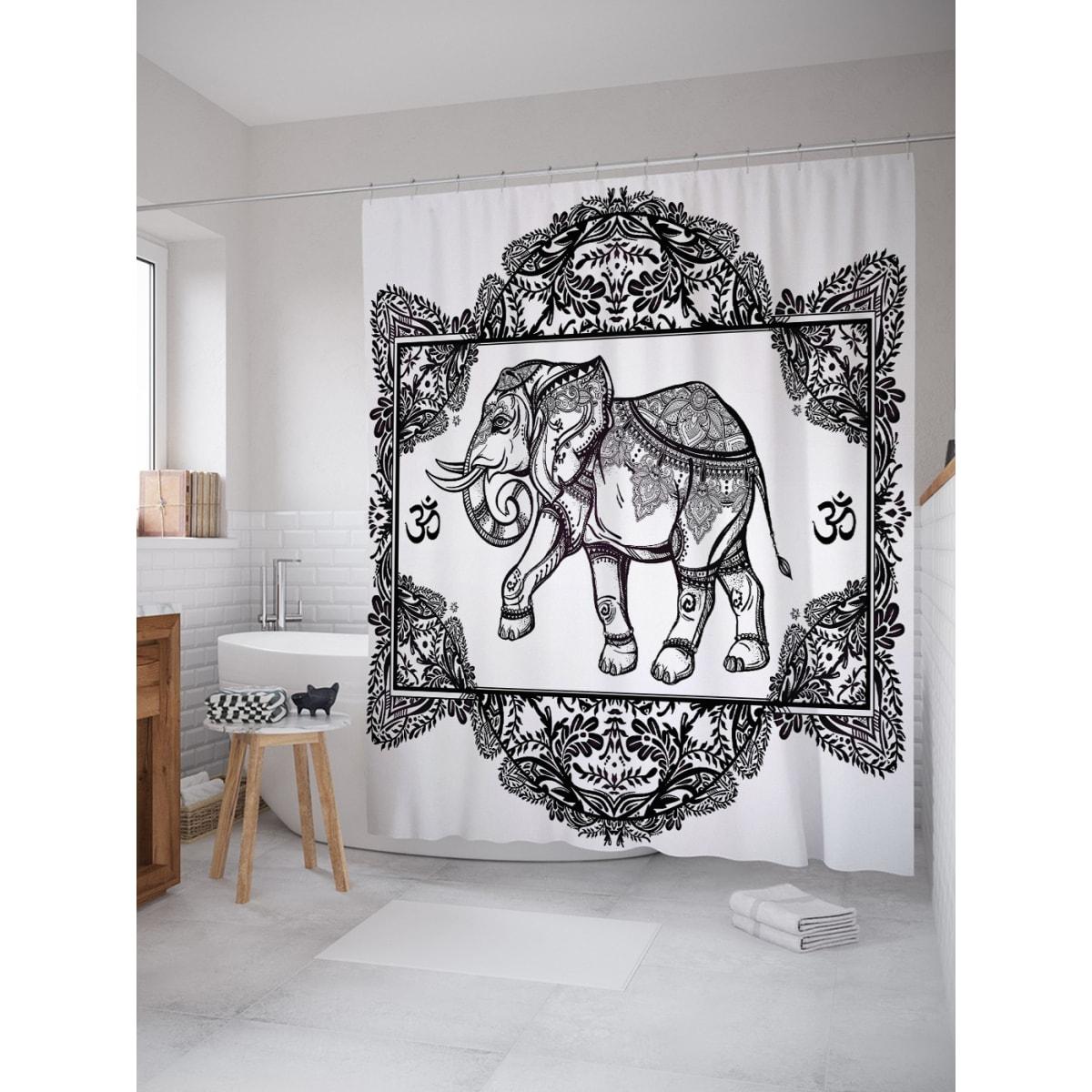 Шторка для ванной Ambesonne Священный слон 180х200 см