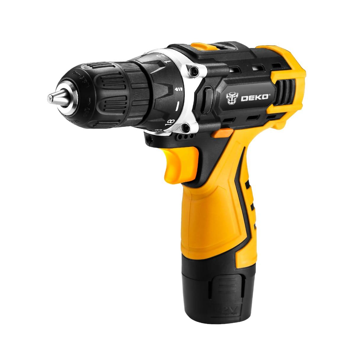 Дрель-шуруповерт аккумуляторная Deko 12В GCD12FU-Li SET 063-4094 + набор аксессуаров в кейсе
