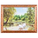 Постер в раме 30х40 см «Лебеди»