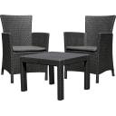 Набор садовой мебели Keter Rosario полиротанг графит: стол и 2 кресла