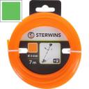 Леска для триммера Sterwins 3 мм х 7 м, квадратная, цвет оранжевый