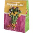 Пакет подарочный «Тюльпаны» 26x32 см