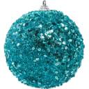 Шар ёлочный со стразами 10 см цвет голубой