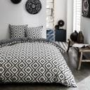 Набор постельного белья Ромбы полутораспальный сатин чёрно-белый