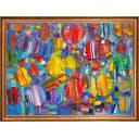 Картина на холсте Русская коллекция Цветные рыбки КС-х13, 68х88 см
