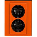 Розетка встраиваемая ABB Levit с заземлением, со шторками, цвет оранжевый/дымчатый черный