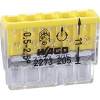 Клемма соединительная Wago 5 разъемов под провода 22х5.8х16.7 мм, поликарбонат, 20 шт.