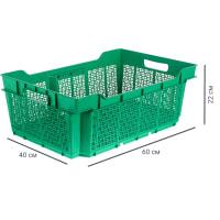 Ящик полимерный многооборотный 60х40х22 см, пластик цвет зеленый