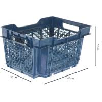 Ящик полимерный многооборотный 40х30х22 см, пластик цвет синий