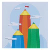 Картина на холсте «Горы из карандашей» 30х30 см