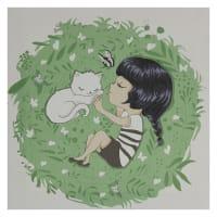 Картина на холсте «Девочка с котом» 30х30 см