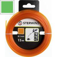 Леска сменная для триммера Sterwins 2 мм х 15 м, квадрат, цвет оранжевый
