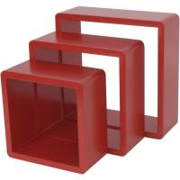 Полка кубическая, 20х10 см/24х10 см/28х10 см, цвет красный, 3 шт.