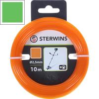 Леска для триммера Sterwins 2.5 мм х 10 м, квадратная, цвет оранжевый