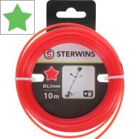 Леска для триммера Sterwins 2.5 мм х 10 м, звёздочка, цвет красный