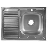 Мойка накладная правая, 60x80 см глубина 16 см, нержавеющая сталь, цвет серебристый