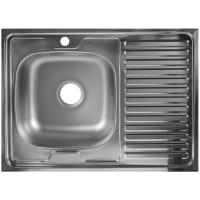 Мойка накладная левая, 60x80 см глубина 16 см, нержавеющая сталь, цвет серебристый
