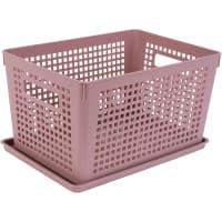 Лоток с крышкой, 270х190х150 мм, 6 л, полипропилен, цвет розовый