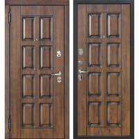 Дверь входная металлическая Мюнхен, 860 мм, левая, цвет грецкий орех/патина