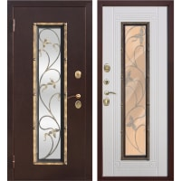 Дверь входная металлическая Плющ, 960 мм, левая, цвет белый ясень