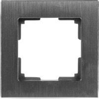 Рамка для розеток и выключателей Werkel Aluminium 1 пост, металл, цвет черный алюминий