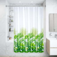 Штора для ванны Tropica, 180х200 см, полиэстер, цвет белый/зелёный