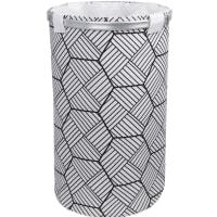 Корзина для белья FX-1033B на завязках 80 л цвет белый/чёрный
