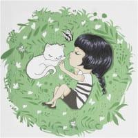 Картина на холсте «Девочка с котом» 30x30 см